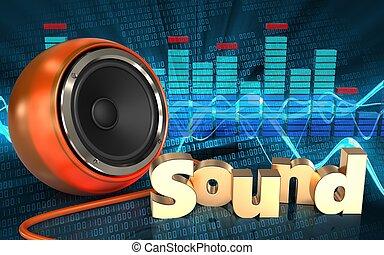 3d spectrum spectrum - 3d illustration of orange speaker...