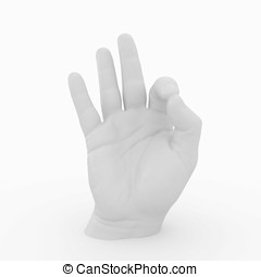 3d hand sculpture showing gesture isolated on white