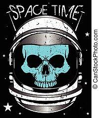 Skull astronaut illustration
