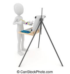 3d man painting on canvas