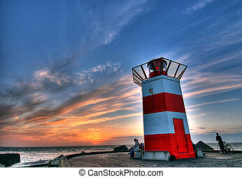 Lighthouse. - Lighthouse in summertime %u2013 sunset on...