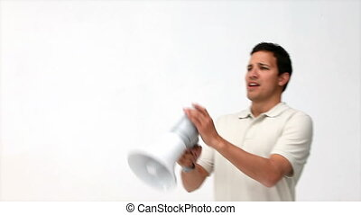 Handsome man sing a megaphone - Handsome man using a...