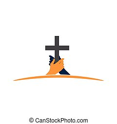 hand holding the cross. the concept of holding firm beliefs.
