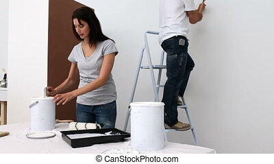Couple renovating a room