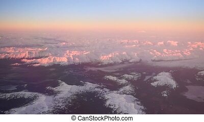 Wrangell Mountain Sunset Alaska Fly Over Gulf of Alaska - A...
