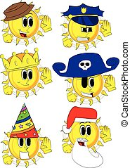 Cartoon sun holds hand at his ear, listening. Collection...