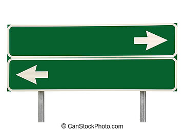 Crossroads Road Sign Two Arrow Green Isolated - Crossroads...