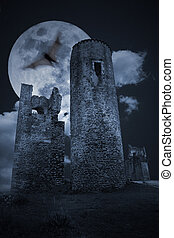 Dark medieval scenery - Color medieval scenery with full...