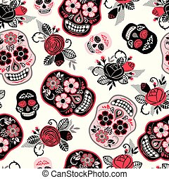 Dia de los muertos. Day of The Dead. Seamless pattern....