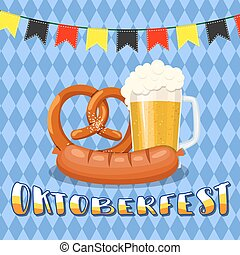 beer mug glass with foam filled to the brim - Oktoberfest...