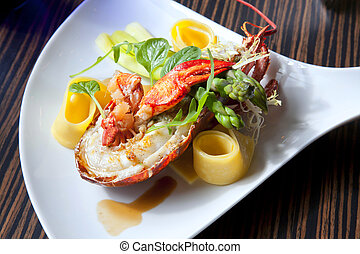 lobster plate - seafood plate on table
