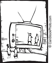 Television Set - People watch the television set as if it...