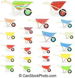 lovely collection of colorful wheelbarrows carts with funny...