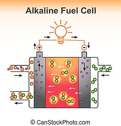 The Alkaline fuel cell structure. Graphic design vector.