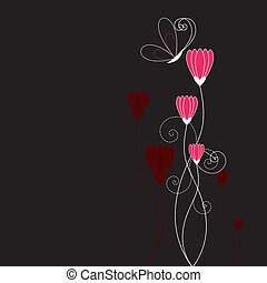 Abstract floral with butterfly