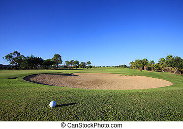 Golf Course - Landscape of a golf course on the coastline