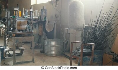 Old scratched soviet plant for producing of fiberglass...