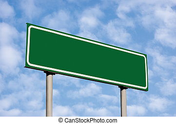 Blank Green Road Sign Against Light Cloudscape Sky - Blank...