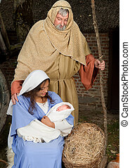 Jesus is born - Live Christmas nativity scene reenacted in a...