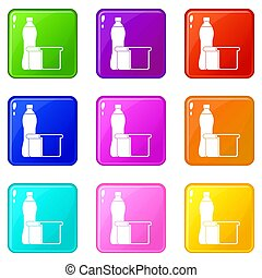 Food set 9 - Food icons of 9 color set isolated illustration...