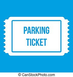 Parking ticket icon white isolated on blue background...