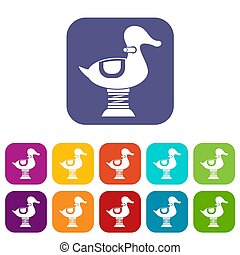 Duck spring see saw icons set illustration in flat style in...