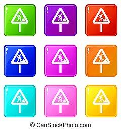 Road works sign set 9 - Road works sign icons of 9 color set...
