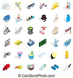 Summer playground icons set, isometric style - Summer...