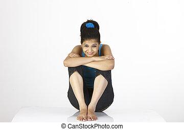 menina, sentando, chão