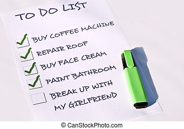 Break up with my girlfriend - To do list with break-up