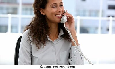 Lovely businesswoman on the phone sitting in her office