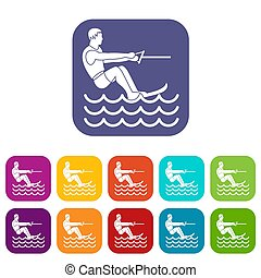 Water skiing man icons set illustration in flat style in...