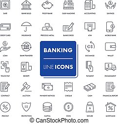 Line icons set. Banking pack. Vector illustration.