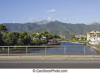 Tuscany Apuan Alps - View from the river front of Marina di...