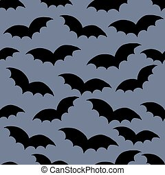 Halloween seamless doodle hand drawn pattern swarm of black...