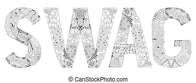 Word SWAG with hashtag for coloring. Vector decorative...