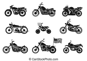 motorcycles vol. 1. set of vector motorcycles on white...