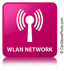 Wlan network pink square button - Wlan network isolated on...