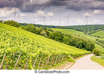 Growing wine and windpower in Franconia (Germany)