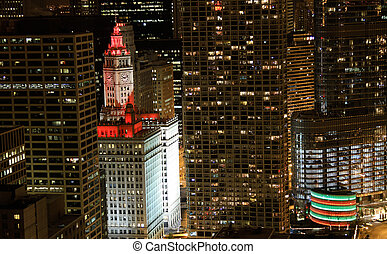 Red lights on the Wrigley Building - The Wrigley Building...