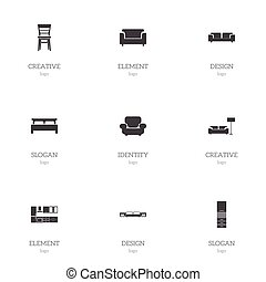 Set Of 9 Editable Interior Icons. Includes Symbols Such As Sofa, Material Cupboard, Cooking Furnishings And More. Can Be Used For Web, Mobile, UI And Infographic Design.