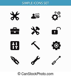Set Of 12 Editable Service Icons. Includes Symbols Such As...