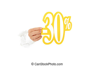 thirty percent discount sign, hand - Hand of man breaking...