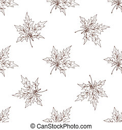 Seamless pattern with maple autumn leafs on light...