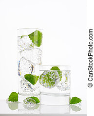 fizzy water with mint and ice - fresh water with ice and...