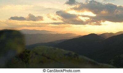 Sunset, mountains, alpine pine, wind - Sunset Mountains...