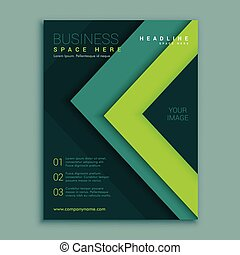 green geometric flyer poster design template