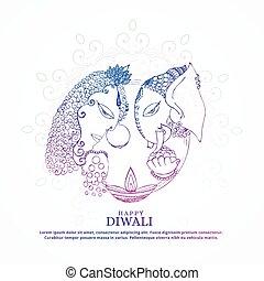 goddess lakshmi and lord ganesha creative happy diwali...