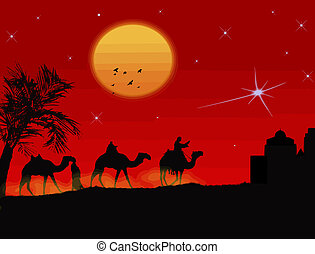 Three wisemen - Three wise-men traveling to Bethlehem,...
