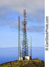 telecommunication - A telecommunication tower with the sea...